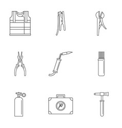 Electrical engineering industry icons set outline vector