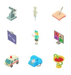 epidermis icons set isometric style vector image
