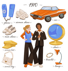 fashion and clothes furniture and objects 70s vector image