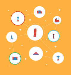 Flat icons paris japan beijing and other vector
