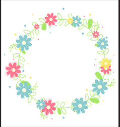 floral wreath with leaves art design vector image