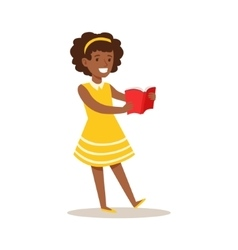 Girl in yellow dress who loves to read vector