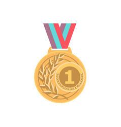 gold medal with ribbon sport game award 1st place vector image