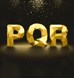 Golden Lowpoly Font from P to R vector image