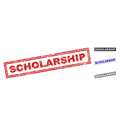 grunge scholarship textured rectangle stamps vector image