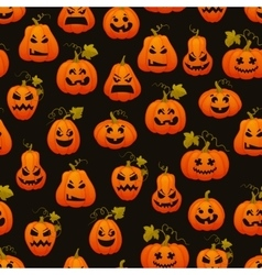 Halloween seamless pattern with pumpkins scary vector