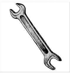hand drawn wrench vector image