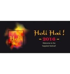 happy holi banner logo and greeti ng text vector image