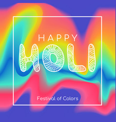 happy holi greeting card color background vector image