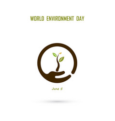 human hand and tree iconworld environment day vector image