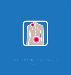 icon back pain backache protrusion isciatic vector image