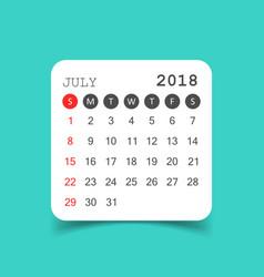 July 2018 calendar calendar sticker design vector