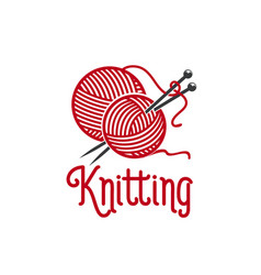 Knitting ionc of knit pins and wool clew vector