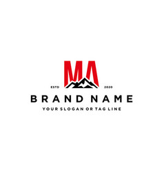 Letter ma mountain logo design vector