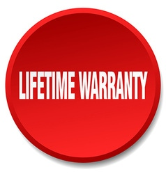 Lifetime warranty red round flat isolated push vector