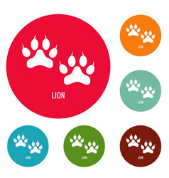 lion step icons circle set vector image