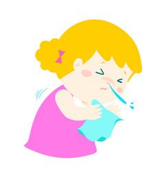 Little girl sneezing cartoon vector