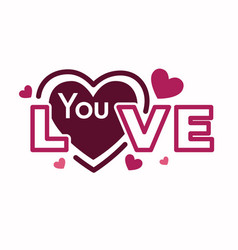 love you texting with incorcorated pink hearts vector image