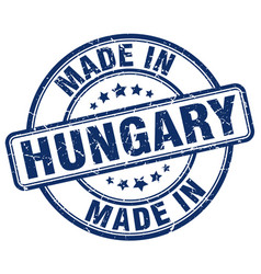 Made in hungary blue grunge round stamp vector