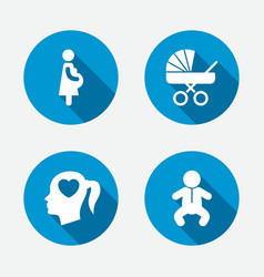 Maternity icons bainfant pregnancy buggy vector