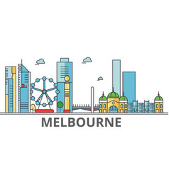 Melbourne city skyline buildings streets vector