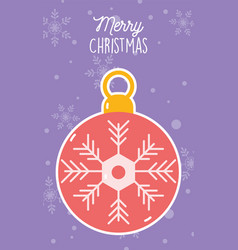 merry christmas celebration decorative red ball vector image