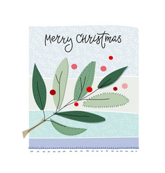 Merry christmas tree snow winter season postcard vector