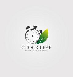 Modern clock logo template with leaf logo vector