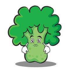 Moody broccoli chracter cartoon style vector