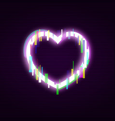 neon heart with glitch effect abstract style vector image