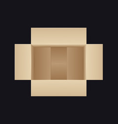 Open cardboard box top view vector