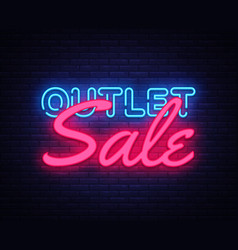 outlet sale neon text design template vector image