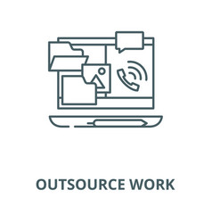 Outsource work line icon linear concept vector
