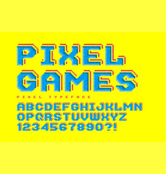 pixel font design stylized like in 8-bit games vector image