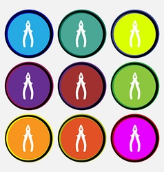 Pliers icon sign Nine multi colored round buttons vector