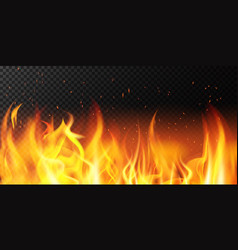 realistic fire flame bright border fiery vector image
