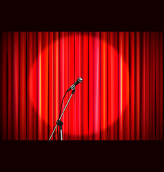 Red curtain with shiny microphone in round vector