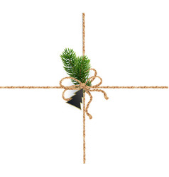 Ribbons of burlap rope for christmas decorations vector