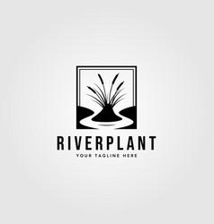 River plant cattail logo vintage design vector