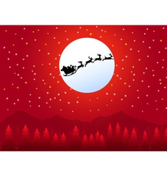 Santa sleigh in Christmas Night vector