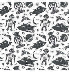 Seamless pattern with robots spaceships and planet vector