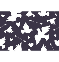 seamless pattern with white love doves vector image vector image
