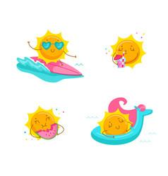 Set cute cartoon sun character surfing on sea vector