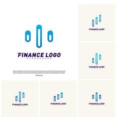 Set of stats financial advisors logo design vector