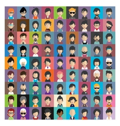 set people icons in flat style with faces 11 b vector image