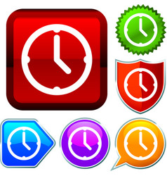 Set shiny icon series on buttons clock vector
