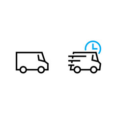 set van and delivery time truck icons editable vector image
