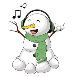 snowman with headphones on white background vector image