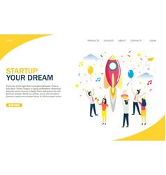 Startup website landing page design vector
