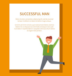 successful man dressed in green shirt with tie vector image